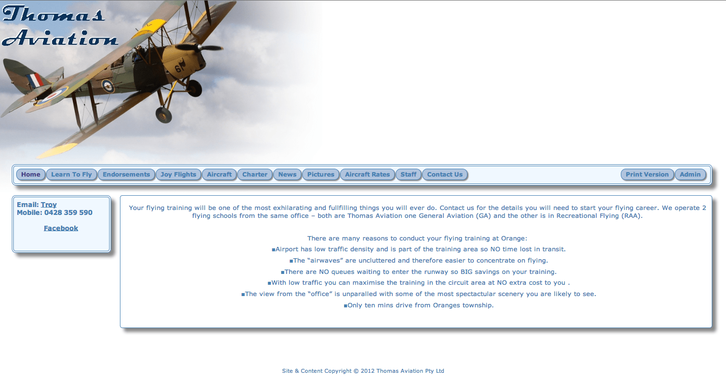 Old Thomas Aviation Website