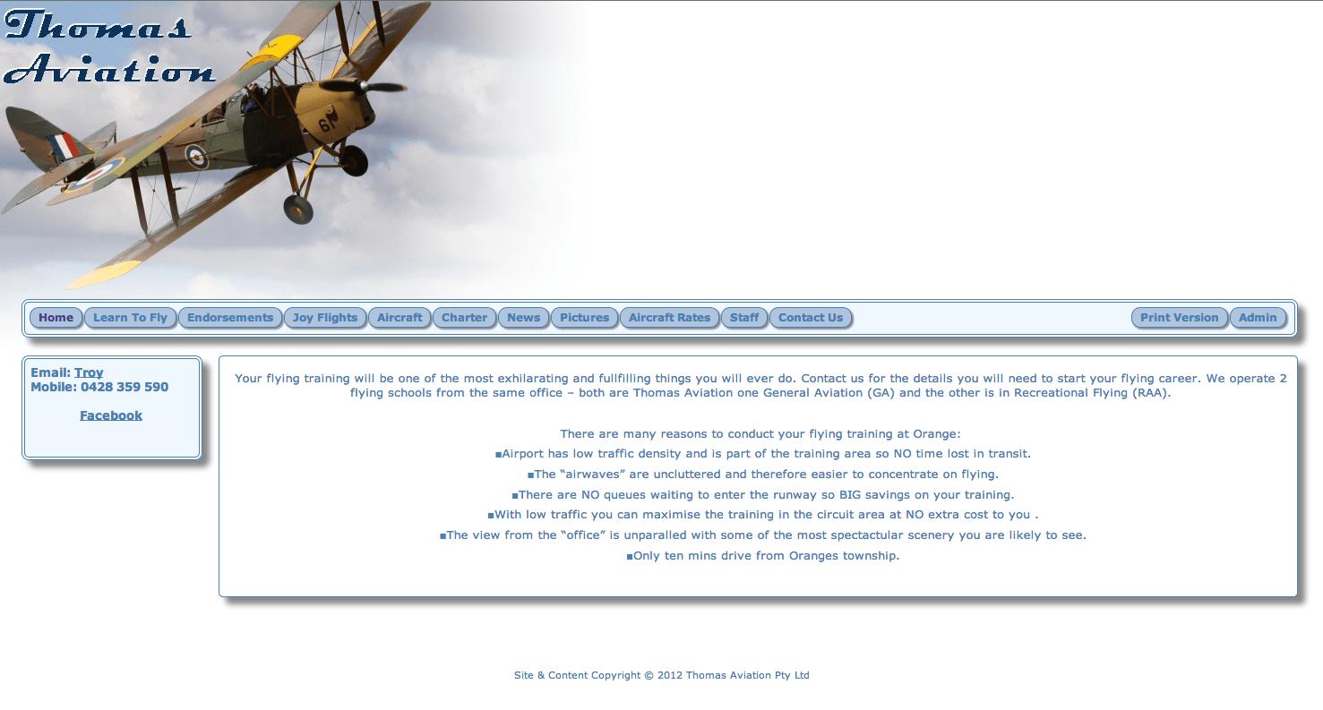 Old Thomas Aviation Website